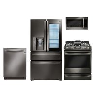 KIT LG 4 Piece Gas Kitchen Appliance Package with 22.5 cu. ft. Smart Refrigerator - Black Stainless Steel