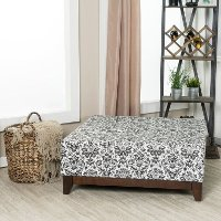 White and Black Floral Paisley Fielding Large Square Ottoman - Berkley