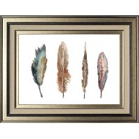 Listen to the Wind Blow Four Feathers Framed Wall Art
