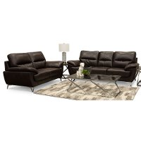 Contemporary Chocolate Brown Living Room Set - Galactica