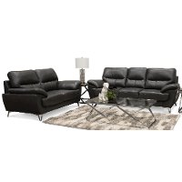 Contemporary Dark Gray 2 Piece Living Room Set - Galactica