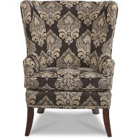235-42A/P150950/CH Traditional Peacock Black Wingback Chair - York