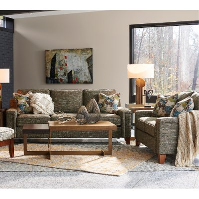 2pc 630 D144828 S L Contemporary Forest Green Sofa Loveseat Set