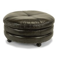 Classic Dark Gray Leather Round Ottoman - Suffolk