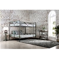 Black Metal Casual Industrial Queen-over-Queen Bunk Bed - Alexander