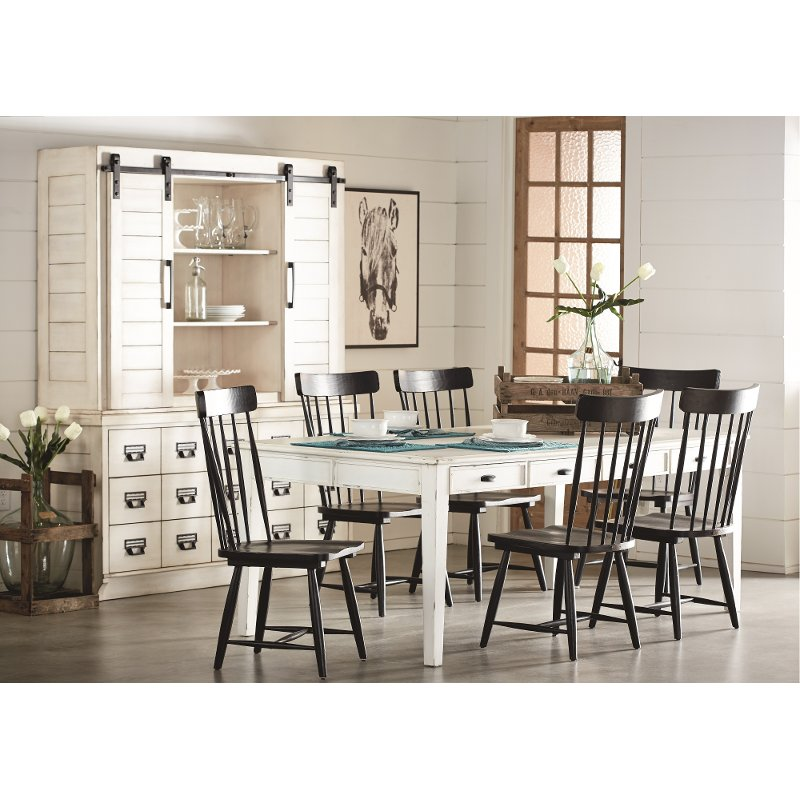 Magnolia Home Furniture White And Black 7 Piece Dining Set
