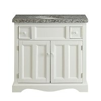 White Vanity Wood Base with Stone Top and Sink - Morton