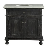 Distressed Black Vanity Base, Top and Sink - Lincoln