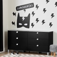 100188 Six-Drawer Double Dresser with Superheroes Wall Decals - Spark
