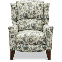 Cream and Blue High Leg Recliner - Jamie
