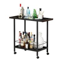 10633 Black Metal Bar Cart on Wheels - City Life