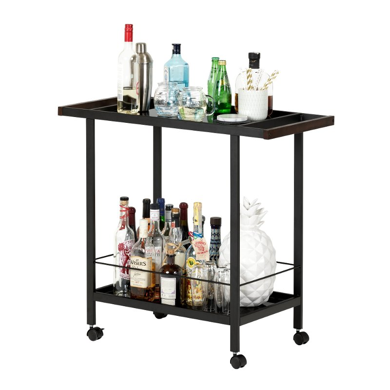 Black Metal Bar Cart On Wheels City Life