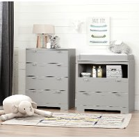 11199 Soft Gray Changing Table and Chest - Reevo