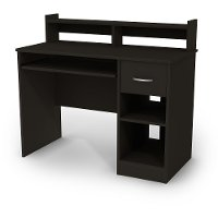 11266 Black Computer Desk with Keyboard Tray and Printer Stand - Axess