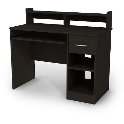 11266 Black Computer Desk With Keyboard Tray And Printer Stand   Axess