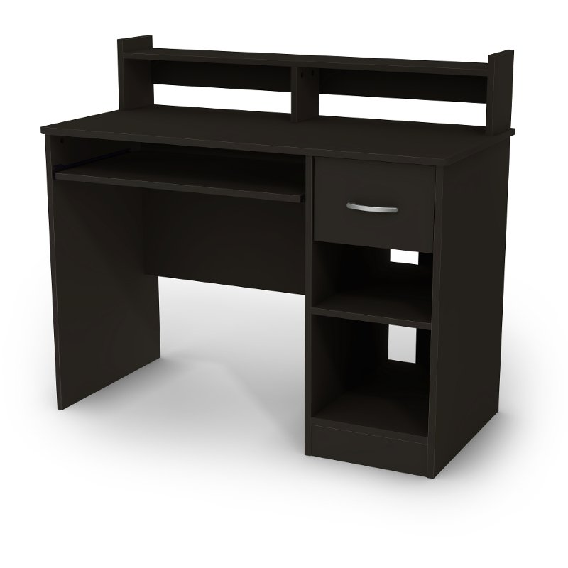 Black Computer Desk with Keyboard Tray and Printer Stand - Axess