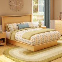11278 Natural Maple Queen Platform Bed with Headboard - Step One