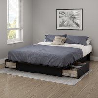 10220 Black Full/Queen Platform Bed with Drawers - Gramercy
