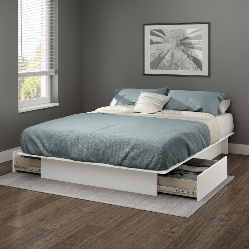 White Full Queen Platform Bed With Drawers Gramercy