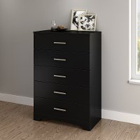 10448 Pure Black 5-Drawer Chest of Drawers- Gramercy