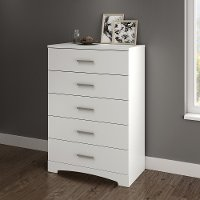 10451 Pure White 5-Drawer Chest of Drawers - Gramercy