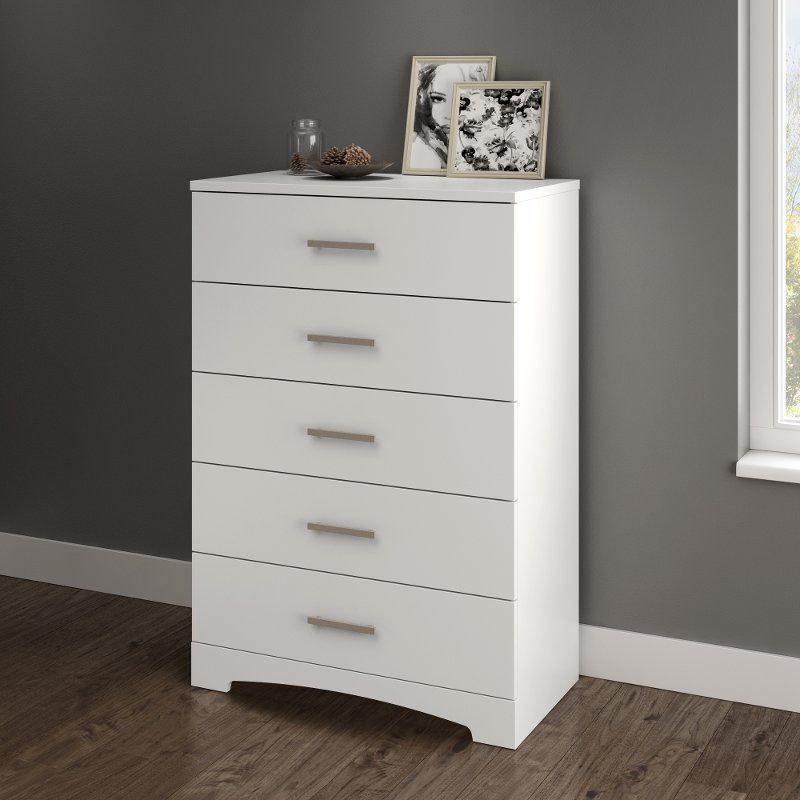 Pure White 5 Drawer Chest Of Drawers