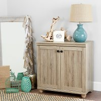 10318 2-Door Rustic Oak Short Storage Cabinet - Hopedale