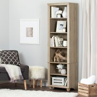 10319 Narrow 6-Shelf Rustic Oak Bookcase - Hopedale