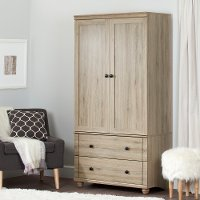 10320 Rustic Oak Storage Armoire with Two Drawers - Hopedale