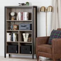 10552 Weathered Oak 6-Shelf Bookcase - Munich