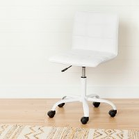 100206 Modern White Office Chair with Quilted Seat - Annexe