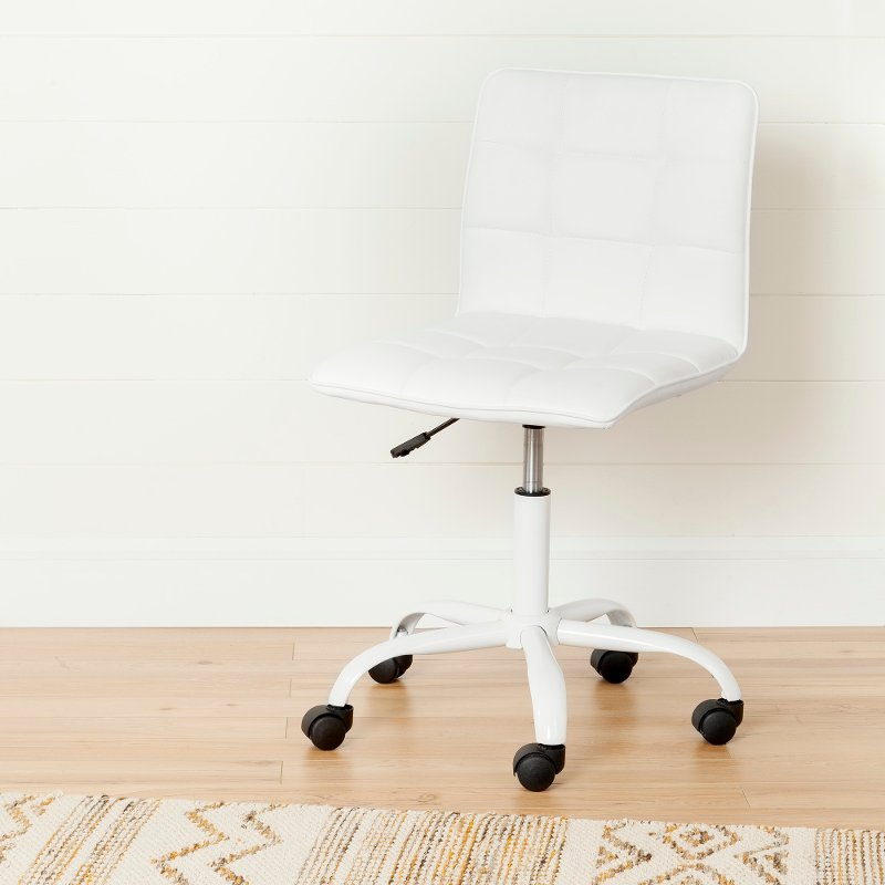 Modern White Office Chair with Quilted Seat - Annexe