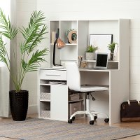 100209 Modern White Desk and Office Chair - Annexe