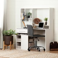 100210 Modern White Oak Desk and Gray Office Chair - Annexe