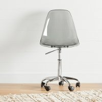 100214 Clear Smoked Gray Acrylic Office Chair with Wheels - Annexe