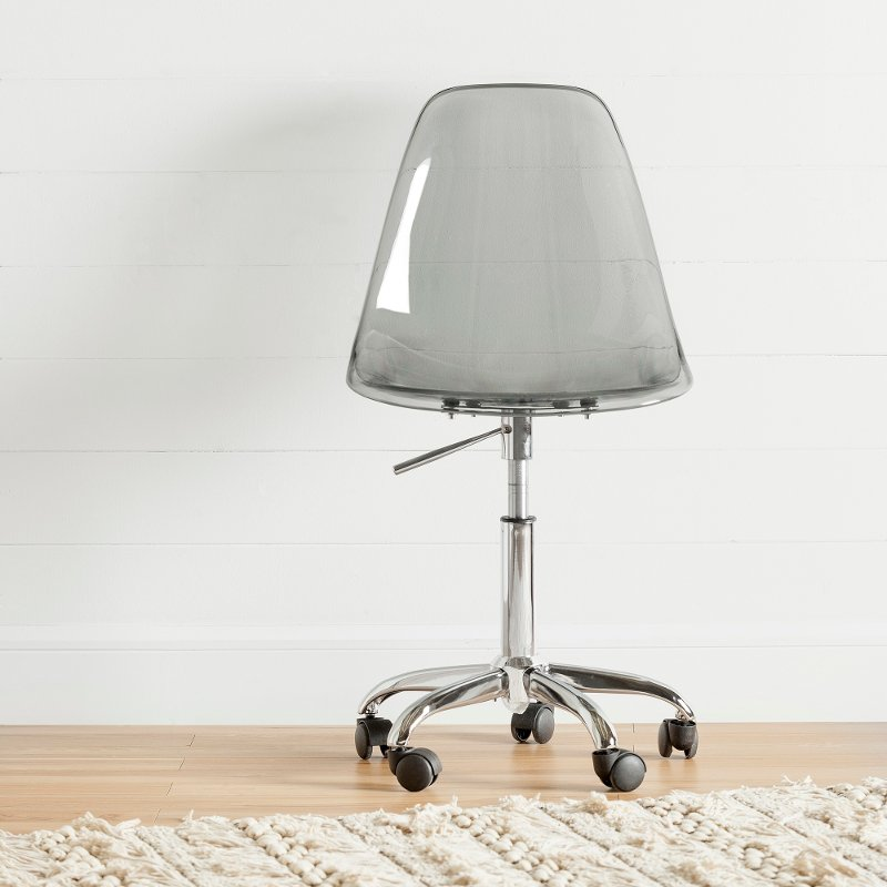 Clear Smoked Gray Acrylic Office Chair With Wheels Annexe Rc Willey Furniture