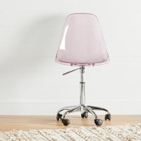 100237 Clear Pink Acrylic Office Chair with Wheels - Annexe