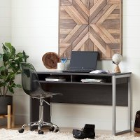 100216 Pure Gray Desk with Smoked Gray Office Chair - Annexe