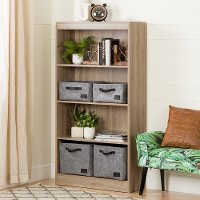 10689 Four-Shelf Rustic Oak Bookcase - Axess