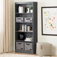 10688 5-Shelf Gray Oak Bookcase - Axess