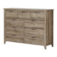 10252 Weathered Oak 9-Drawer Double Dresser - Lionel