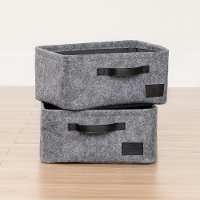 100239 Small Woven Gray Felt Baskets, Set of Two - Storit