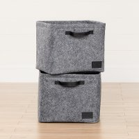 100240 Large Woven Gray Felt Baskets, Set of Two - Storit