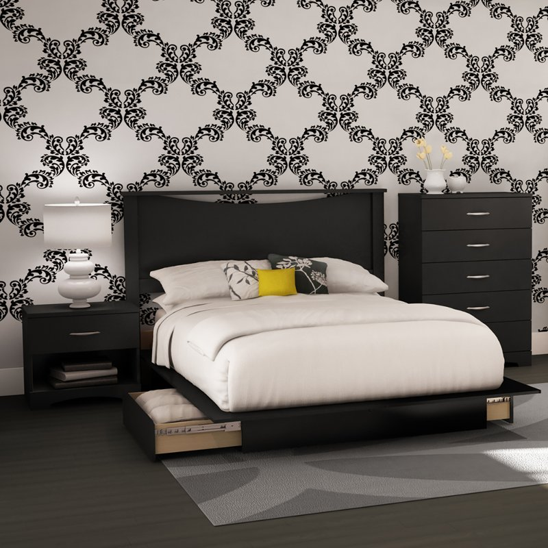 Black 4 Piece Full Size Bedroom Set Step One Rc Willey Furniture Store