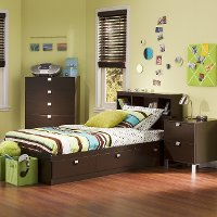 3259A3 Chocolate 3 Piece Kids Twin Bedroom Set - Spark