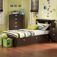 3259B2 Chocolate Twin Storage Bed with 3 Drawers and Headboard - Spark