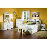 3210D4 White Wash 4-Piece Bedroom Set (Full Size) - Summer Breeze