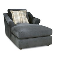 Casual Traditional Charcoal Gray Chaise - Gavin