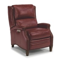 Ruby Red Leather-Match Power High Leg Recliner - Bishop