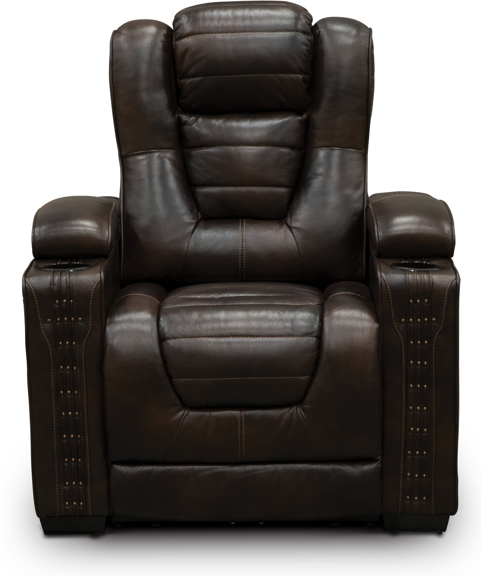 Brown Leather Match 3 Piece Power Home Theater Seating